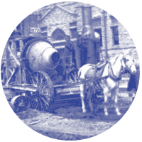 Horse-pulled cement mixer